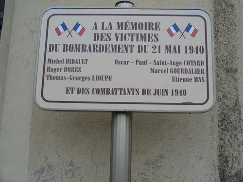 Plaque bombardements 21 mai 1940